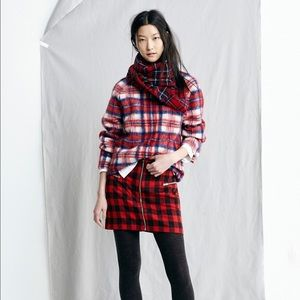 Madewell Red Brushed Plaid Pullover
